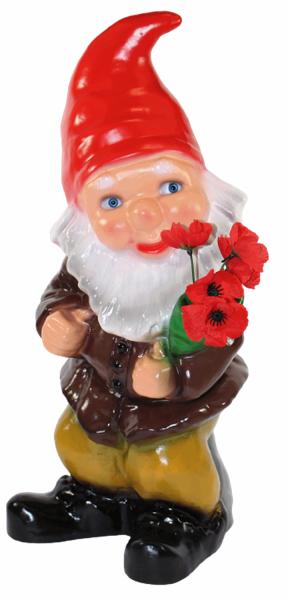 Gartenzwerg Deko Garten Figur Zwerg stehend mit Blumenstrauß in der Hand aus Kunststoff H 45 cm