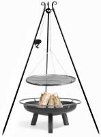 """Set: Dreibein H 180 cm mit Grillrost Ø 70 cm Rohstahl und Kurbel + Feuerschale """"Porto"""" Ø 80 cm"""