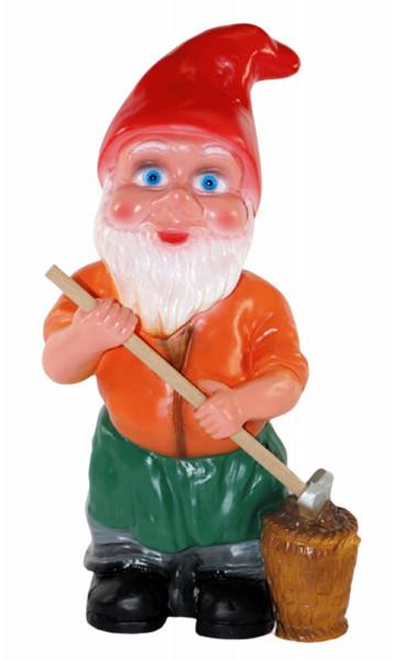 Deko Figur Zwerg H 33cm Gartenzwerg mit Schaufel u. Kartoffelkorb stehend Gartenfigur aus Kunststoff