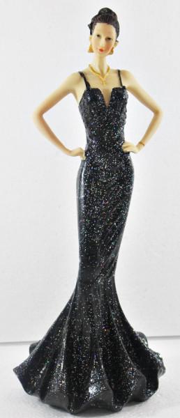 Beauty Figur Deko Modefigur Modepuppe Nostalgiefigur Dame schwarzen Kleid mit Träger aus Resin