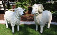 Dekorationsfiguren Schafbock und Schaf lebensgroß H 64/72 cm Gartenfiguren Gartendeko aus Kunstharz