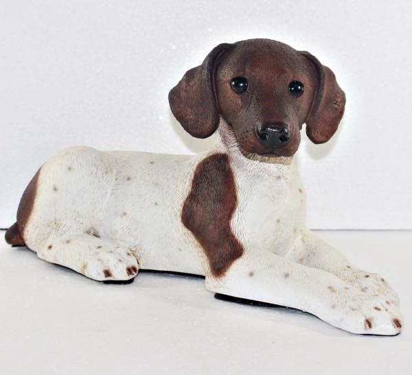 Figur Hund englischer Pointer Hundefigur liegend braun gefleckt Kollektion Castagna Resin H 18 cm