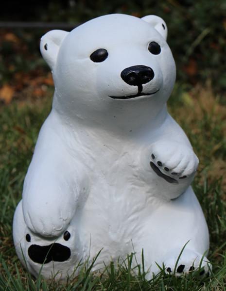 Beton Figur kleiner Eisbär H 21 cm Dekofigur und Gartenfigur