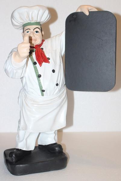 Dekorationsfigur Koch mit Tafel H 43 cm weiß Gastrofigur aus Kunstharz