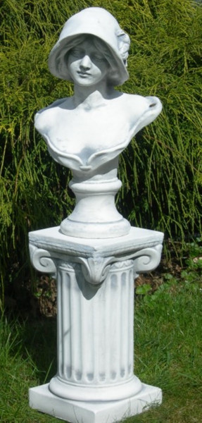 Beton Figuren Skulptur Statue Büste Frau mit Hut auf ionischer Säule H 72 cm Dekofiguren und Gartens