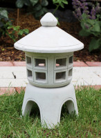 Beton Figur japanische Laterne H 32 cm Gartenskulptur Steinlaterne 2-teilig für Teelicht geeignet