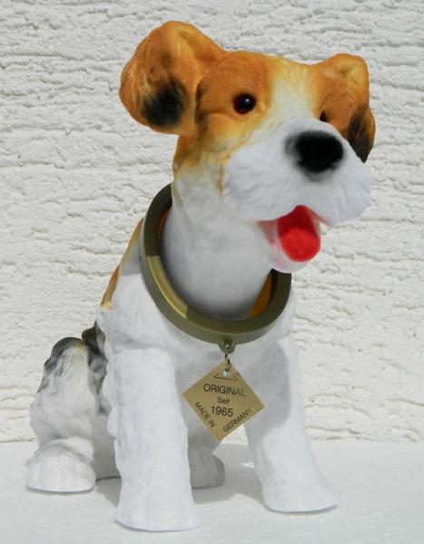 Wackel Figur Hund Fox Terrier Wackelfigur H 20,5cm groß Dekofigur mit Wackelkopf
