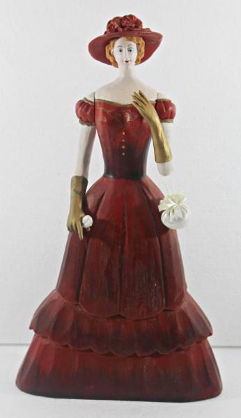 Modefigur Beauty Figur Deko Modepuppe Nostalgiefigur Dame rotes Kleid mit Handtasche aus Holz H 33cm