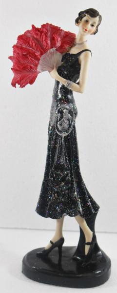 Beauty Figur Deko Modefigur Modepuppe Nostalgiefigur Dame schwarzen Kleid mit roten Fächer aus Resin