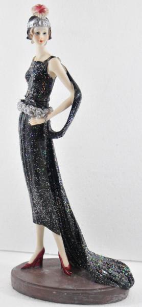 Beauty Figur Deko Modefigur Modepuppe Nostalgiefigur Dame schwarzen Kleid mit Kopfschmuck aus Resin