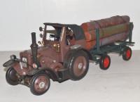 Blechtraktor Nostalgie Modellauto Oldtimer Lanz Gespann mit Holzanhänger Eilbulldog Traktor L 63 cm