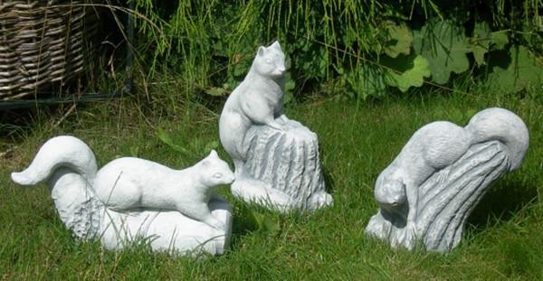 Beton Figur Eichhörnchen 3-er Satz Dekofiguren und Gartenfiguren