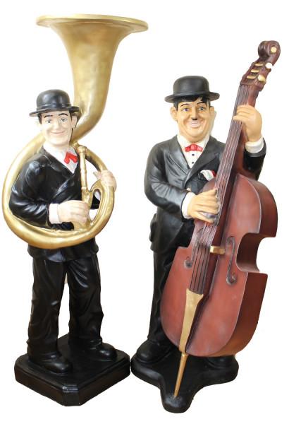 Deko Figuren Komiker Dick und Doof H 89/95 cm Laurel und Hardy als Musiker aus Kunstharz