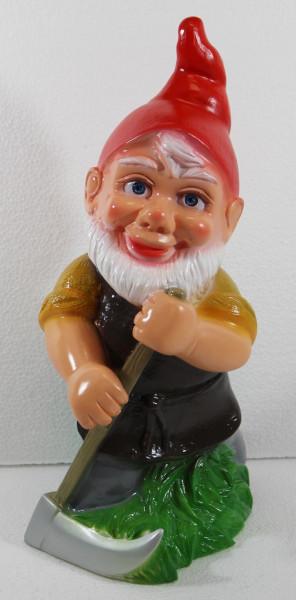 Gartenzwerg Deko Garten Figur Zwerg Gärtner Sensenmäher stehend mit Sense aus Kunststoff 33 cm