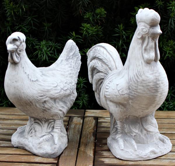 Beton Figuren Deko Vogel Henne und Hahn stehend H 29/35 cm als Satz 2teiig Gartenfiguren Dekofiguren