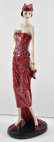 Beauty Figur Deko Modefigur Modepuppe Nostalgiefigur Dame rotes Kleid mit roter Mütze aus Resin