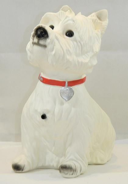 Deko Figur Hund West White Terrier Ginger H 34 cm Dekofigur mit Bewegungsmelder Wau-wau