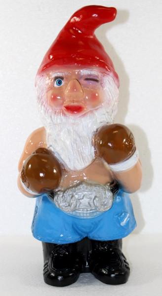 Deko Figur lustiger Zwerg Boxer H 34 cm Spaß Gartenzwerg Gartendeko Gartenfigur aus Kunststoff