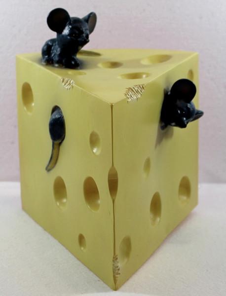 Figur Leuchte Käse und Mäuse Dekolampe 24 cm Figurenlampe mit Beleuchtung für Innenbereiche Trafo