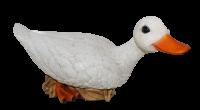Deko Figur Gans Tierfigur weiße Gänsefigur Vogel sitzend Kollektion Castagna aus Resin H 19 cm