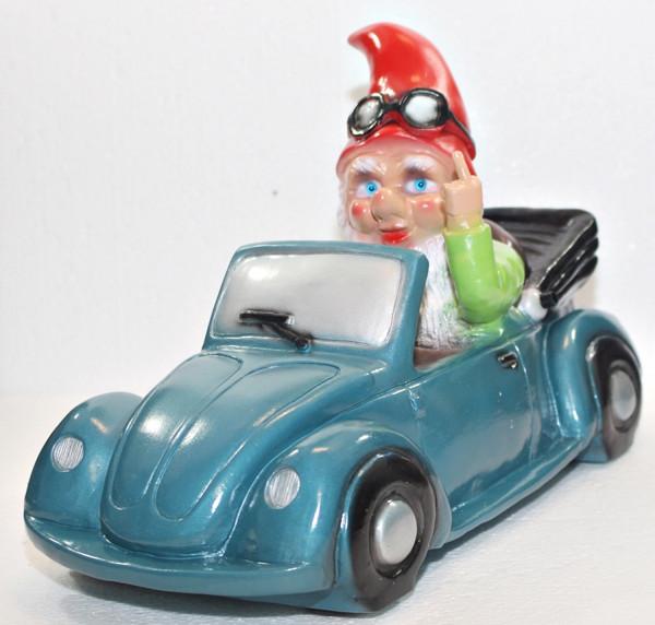 Gartenzwerg Verkehrsrowdy im Auto sitzend Stinkefigner H 23 cm Scherz Bewegungsmelder Pfeifen