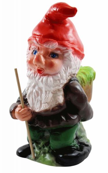 Deko Figur Zwerg H 30 cm Gartenzwerg stehend mit Stock und Korb Gartenfigur aus Kunststoff