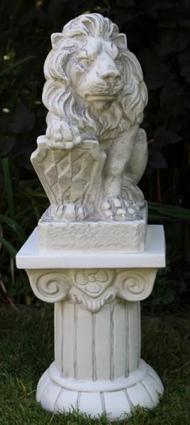 Deko Figur Staue Löwe mit bayrischem Wappen rechts auf ionischer Säule H 70 cm 2-teilig Kunststoff