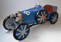 Blechauto Nostalgie Modellauto Oldtimer Automarke Bugatti Type 35C Blau XXL Modell aus Blech L 120cm