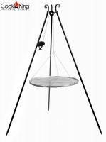 Schwenkgrill mit Kurbel H 180 cm mit Grillrost Ø 60 cm aus Edelstahl Dreibein Grill Grillständer