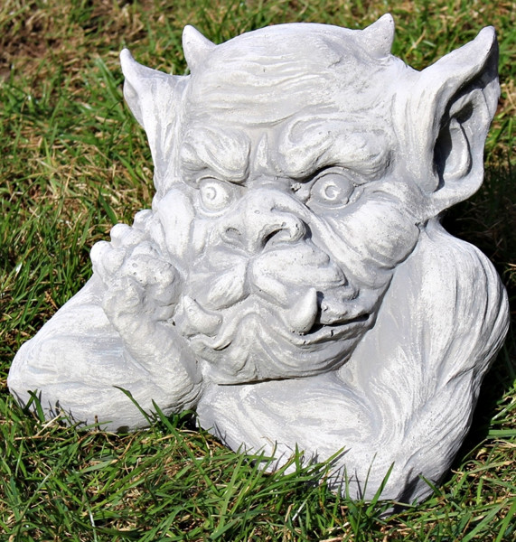 Beton Figur Büste Drache Gargoyle Torwächter H 18 cm Dekofigur und Gartenskulptur