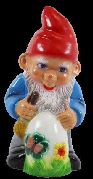 Gartenzwerg Deko Garten Figur Zwerg Maler stehend mit Ei u. Pinsel in der Hand aus Kunststoff H 28cm
