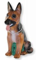 Deko Garten Figur Dekofigur Gartenfigur Tierfigur Hund mit Scherz Bewegungsmelder Kunststoff H 40 cm