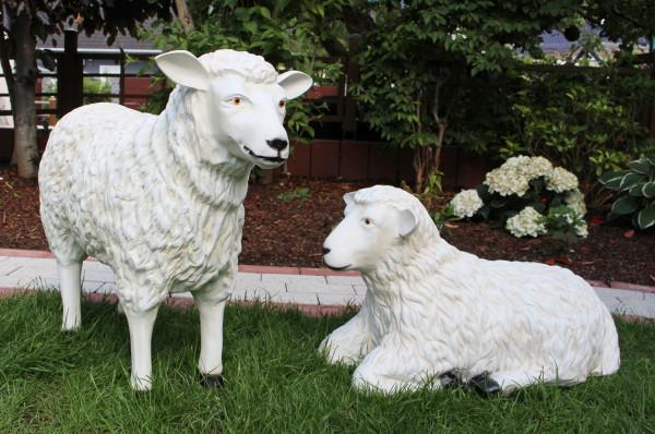 Dekorationsfiguren Schafe lebensgroß H 40/64 cm Gartenfiguren Gartendeko Schaf aus Kunstharz