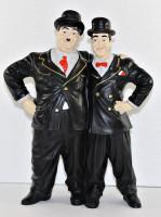 Dekfigur Dick und Doof stehend umarmt H 34 cm Deko Figur Komiker Duo Laurel und Hardy aus Kunstharz