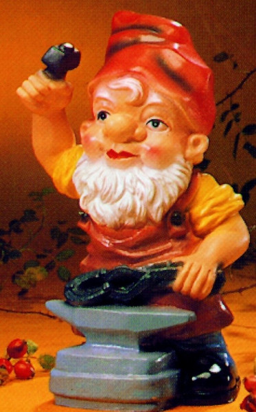 Gartenzwerg als Schmied Figur Zwerg H 17 cm Gartenfigur aus Kunststoff