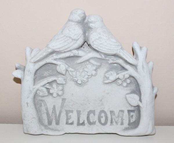 """Beton Deko Figur """"Welcome"""" Schild mit Vögel und Blumen H 18 cm Dekofigur für den Eingangsbereich"""