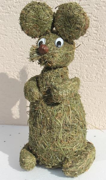 Deko Heu Figur Maus sitzend Höhe 40 cm Tierfigur aus Naturmaterial Heu zum Basteln Heudeko