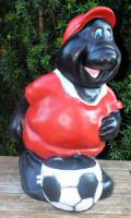Dekofigur lustiger Maulwurf Fußballer stehend mit Ball am Fuß H 43 cm Gartenfigur aus Kunstharz
