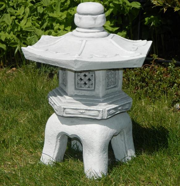 Beton Figur japanische Laterne H 40 cm Dekofigur und Gartenskulptur 3-teilig