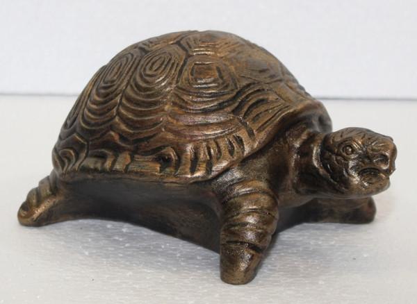 Deko Figur Schildkröte klein H 9 cm Kupfer-Antik aus Kunststoff
