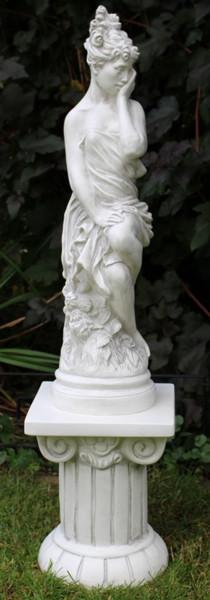 Deko Figur Statue Grazia auf ionischer Säule H 98 cm Satz 2-teilig Skulptur Dekofigur aus Kunststoff