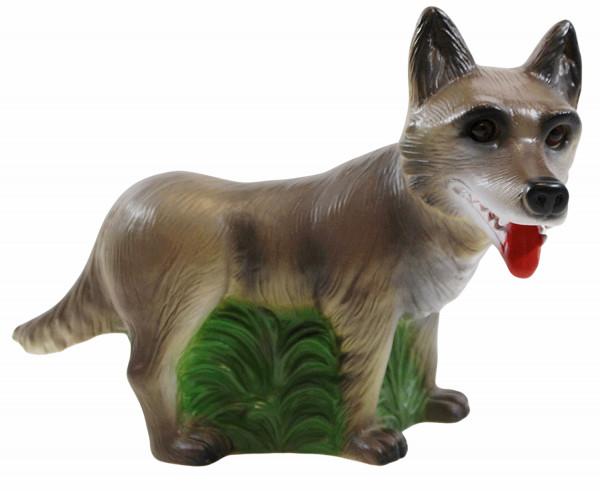 Deko Figur böser Wolf Gartenfigur und Märchenfigur Wolf H 20,5 cm stehend aus Kunststoff