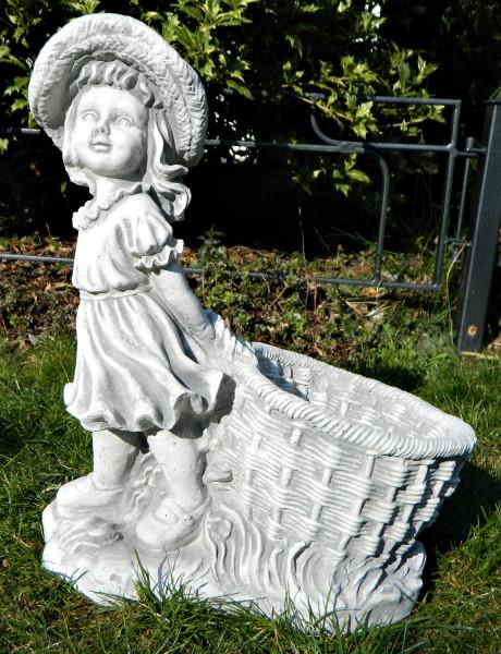 Beton Figur Mädchen mit Pflanztopf H 40 cm Dekofigur und Gartenskulptur zum Bepflanzen