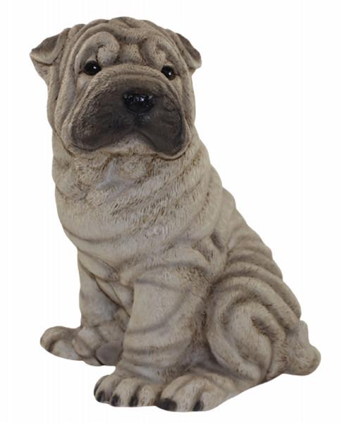Hundefigur Chinesischer Faltenhund Shar Pei Welpe sitzend Kollektion Castagna aus Resin H 24 cm