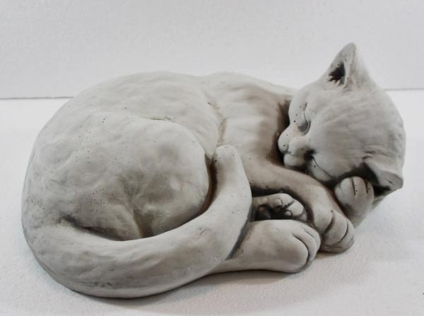 Beton Figur Katze liegend und schlafend H 16 cm Dekofigur und Gartenfigur