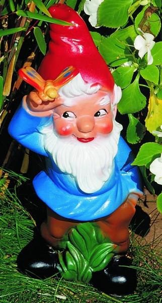 Gartenzwerg mit Schmetterling Figur Zwerg H 30 cm Gartenfigur aus Kunststoff