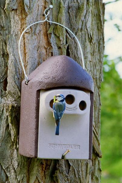 Naturschutzprodukt Vogel Nisthöhle Typ 2GR Dreiloch je 27 mm mit Marderschutz Satz 2 Stück