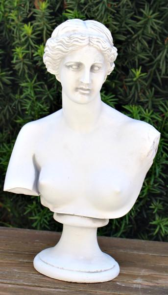 Deko Statue Skulptur Büste Venus von Milo H 33 cm Dekofigur Gartenskulptur hell patiniert aus Beton