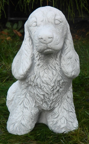 Beton Figur Hund Cocker Spaniel sitzend H 31 cm Dekofigur und Gartenfigur