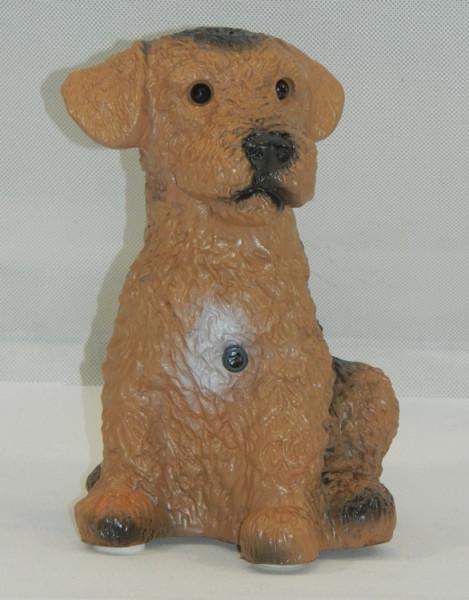Deko Figur Hund Fox Terrier klein H 20 cm Tierfigur mit Bewegungsmelder Wau-wau